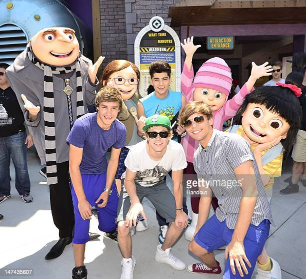In this handout image provided by Universal Orlando Resort the superstar boy band One Direction was hosted by Universal Orlando Resort to experience...