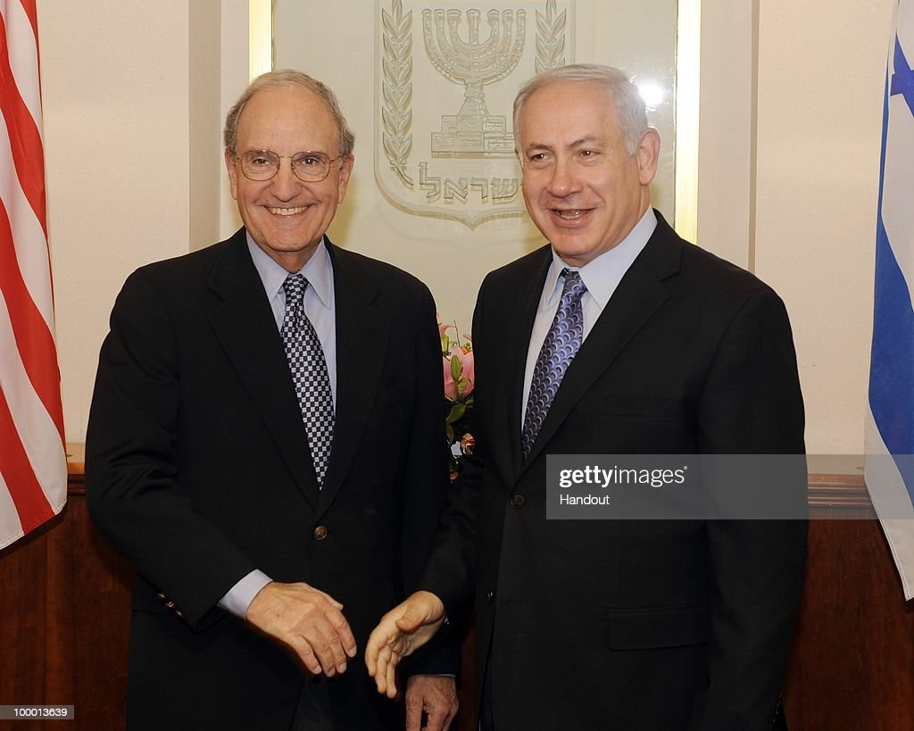 In this handout image provided by U.S. Embassy Tel Aviv, US Special Envoy George Mitchell (L) stands with Israeli Prime Minister Binyamin Netanyahu as they meet at the Prime Minister's office on May 20, 2010 in Tel Aviv, Israel. Special envoy Mitchell has initiated a new round of middle east talks, mediating between the Israelis and Palestinian National Authority, while both parties refuse to hold direct talks.