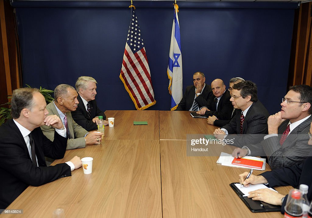 In this handout image provided by U.S. Embassy Tel-Aviv, NASA Administrator Charles F. Bolden, Jr. meets with Israeli deputy Foreign Minister Ayalon January 24, 2010 in Jerusalem, Israel. They met to discuss past and future bilateral cooperation in space science research and exploration.