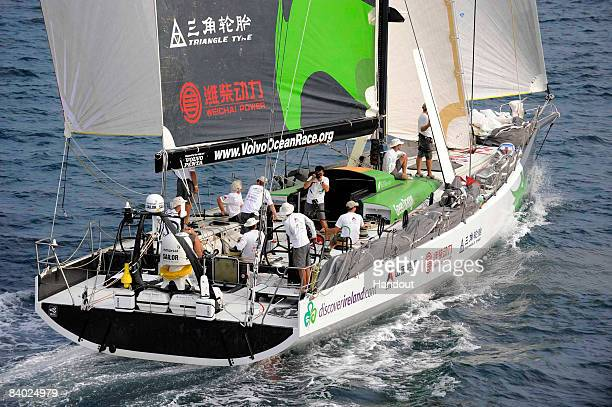 In this handout image provided by Volvo Ocean Race Green Dragon and crew at the start of Leg 3 of the Volvo Ocean Race 200809 from Kochi to Singapore...