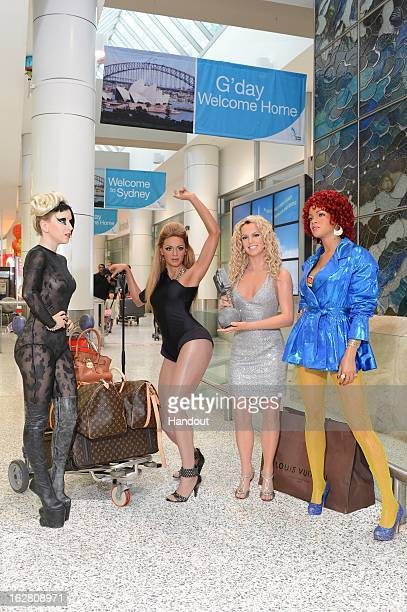 In this handout image provided by Wax figures of Beyonce Britney Spears Lady Gaga and Rihanna are at the Sydney Airport ahead of the Gay and Lesbian...