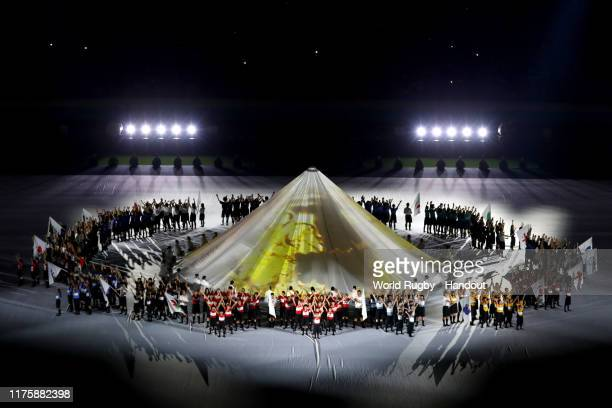 In this handout image provided by World Rugby, a general view is seen as artists perform during the Opening Ceremony prior to the Rugby World Cup...