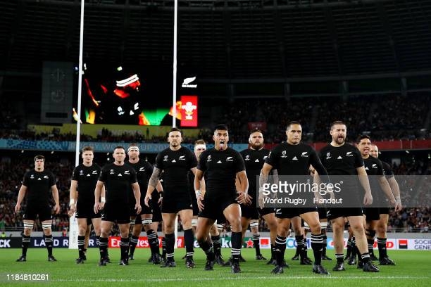 In this handout image provided by World Rugby Aaron Smith of New Zealand leads the haka prior to the Rugby World Cup 2019 Bronze Final match between...