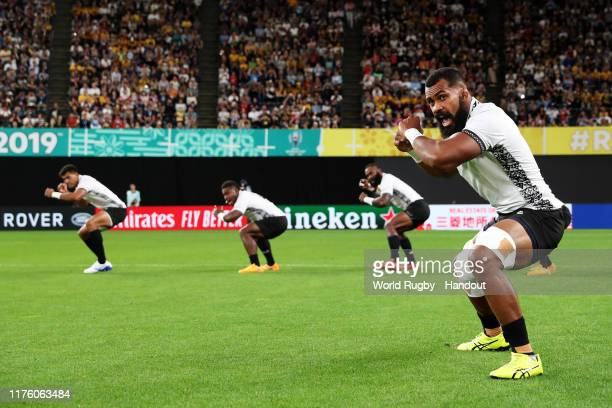 In this handout image provided by World Rugby Fiji players perform the Cibi prior to during the Rugby World Cup 2019 Group C game between France and...