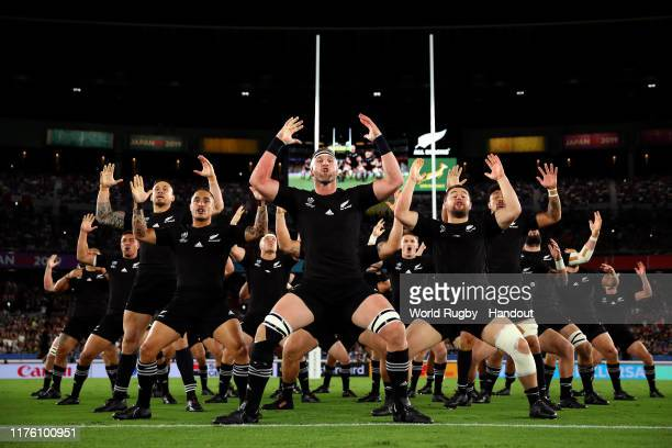 In this handout image provided by World Rugby New Zealand players perform the Haka prior to the Rugby World Cup 2019 Group B game between New Zealand...