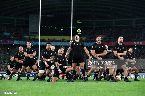 In this handout image provided by World Rugby the New Zealand players perform The Haka prior to the Rugby World Cup 2019 Quarter Final match between...