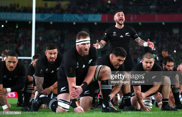 In this handout image provided by World Rugby TJ Perenara of New Zealand performs The Haka with his teammates prior to the Rugby World Cup 2019...