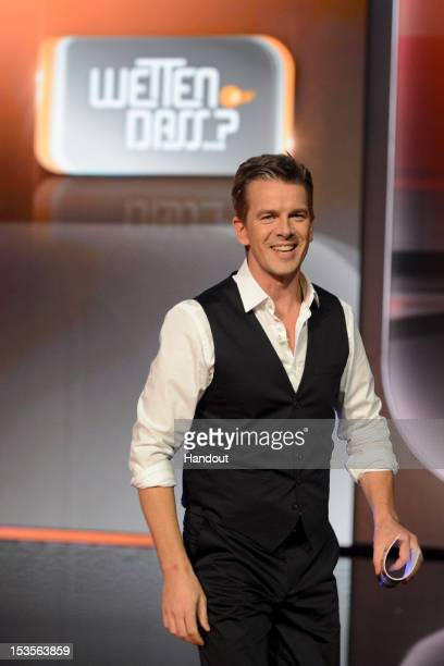 In this handout image provided by ZDF Markus Lanz is seen on stage during the 200th 'Wetten dass' show at the ISS Dome on October 6 2012 in...