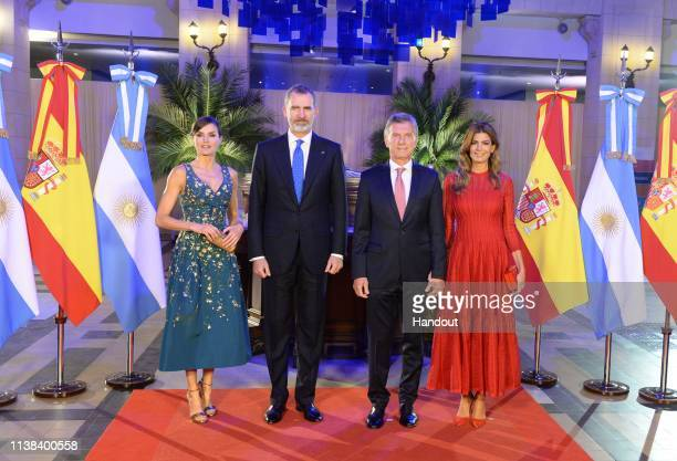 In this handout image released by Prensa Presidencia Argentina King Felipe VI of Spain Queen Letizia of Spain Mauricio Macri president of Argentina...