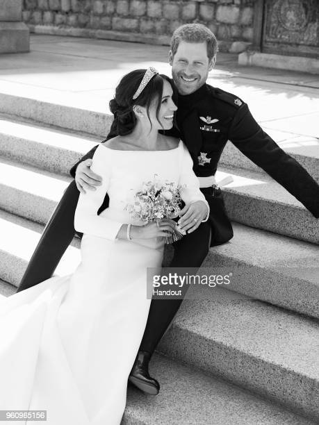In this handout image released by the Duke and Duchess of Sussex the Duke and Duchess pictured together in an official wedding photograph on the East...