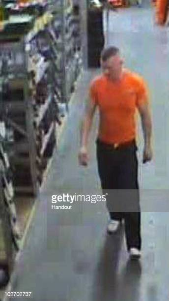 In this handout image released by the Northumbrian Police, A CCTV image shows fugitive 37 years old Raoul Moat in a Newcastle shop on Friday, July 2...