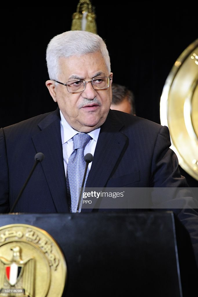 In this handout image released by the Palestinian Press Office, Palestinian President Mahmoud Abbas attends a meeting with Egyptian President Hosni Mubarak June 15, 2010 in Sharm el-Sheikh, Egypt. Abbas called on Israel to open all of its border crossings into Gaza during the meeting.