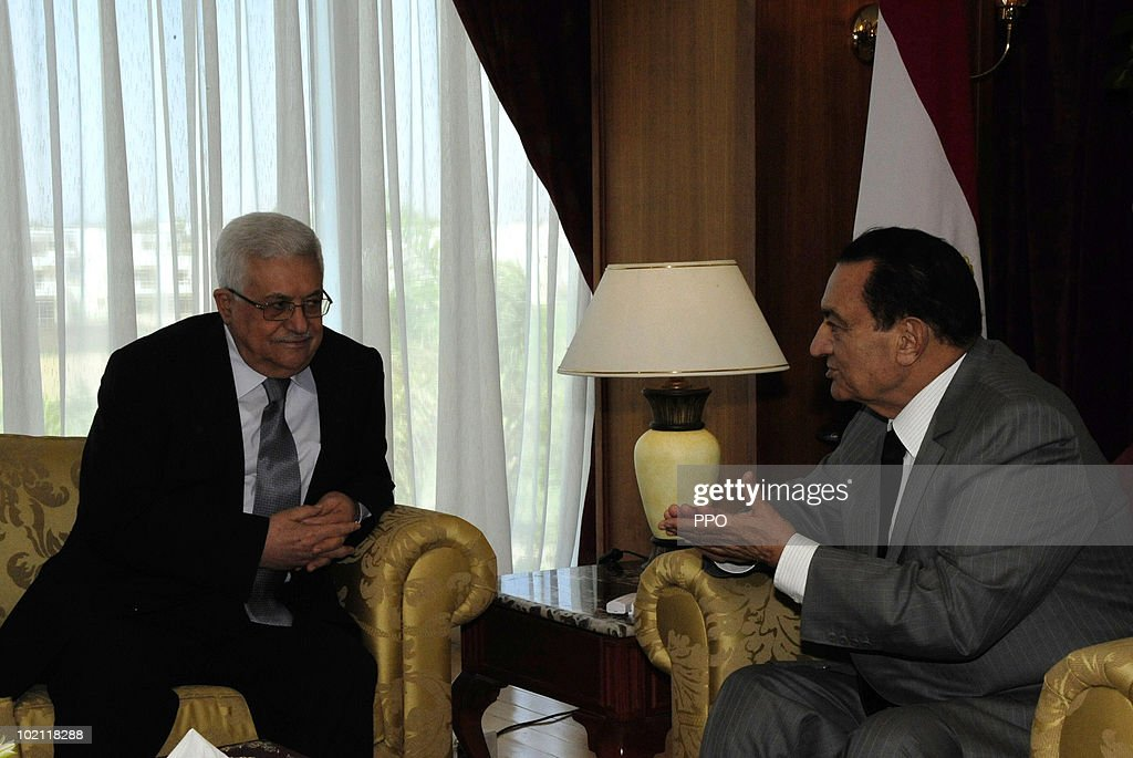 In this handout image released by the Palestinian Press Office, Palestinian President Mahmoud Abbas (L) meets with Egyptian President Hosni Mubarak June 15, 2010 in Sharm el-Sheikh, Egypt. Abbas called on Israel to open all of its border crossings into Gaza during the meeting.