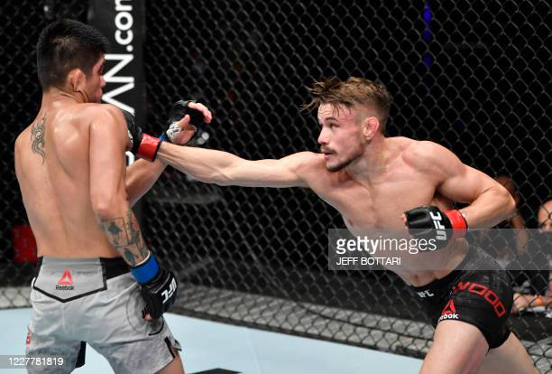 In this handout image released by the Ultimate Fighting Championship Nathaniel Wood of England punches John Castaneda in their bantamweight fight...