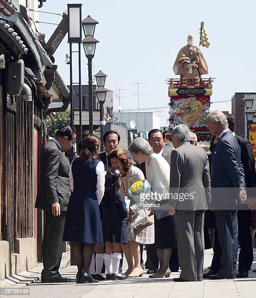 In this handout image released from Saitama Prefectural Office Swedish King Carl XVI Gustaf Queen Silvia Japanese Emperor Akihito and Empress Michiko...