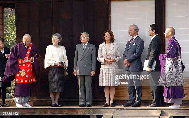 In this handout image released from Saitama Prefectural Office Japanese Emperor Akihito Swedish King Carl XVI Gustaf Japanese Empress Michiko and...