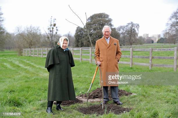 In this handout image released on May 17 Queen Elizabeth II and The Prince of Wales with the first Jubilee tree in the grounds of Windsor Castle...