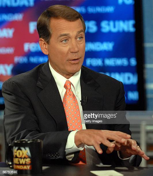 In this handout image rpovided by Fox News newly elected House Majority Leader John Boehner gestures as he appears on Fox News Sunday February 5 2006...