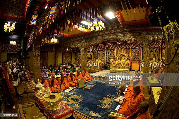 In this handout image supplied by Bhutan Government Department Of Information Technology A Coronation ceremony is held for His Majesty Jigme Khesar...