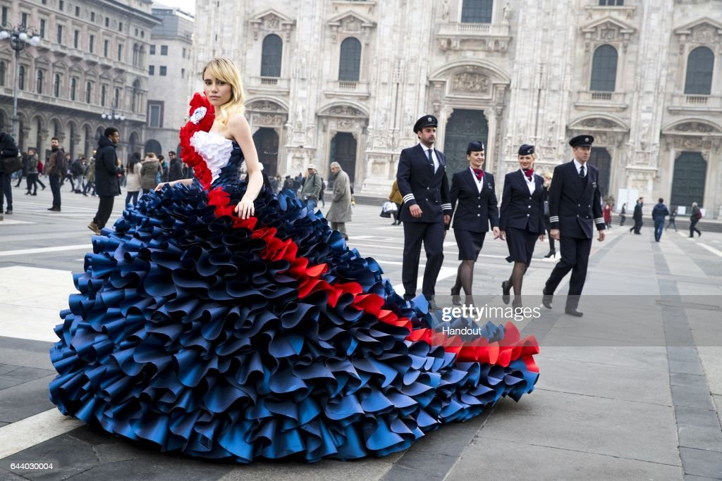 In this handout image supplied by British Airways, the airline British Airways celebrated its love of Milan by taking British supermodels Suki Waterhouse and David Gandy out onto the citys fashionable streets for two very special photoshoots - followed by an exclusive fashion show and very British afternoon tea experience on February 23, 2017 in Milan, Italy.