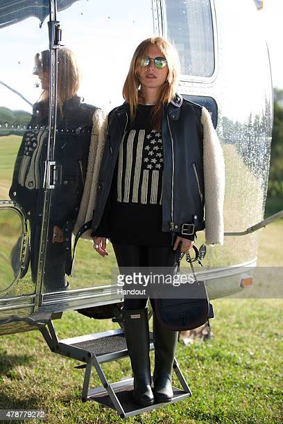 In this handout image supplied by Coach Josephine De La Baume wearing Coach attends the Glastonbury Festival at Worthy Farm Pilton on June 26 2015 in...