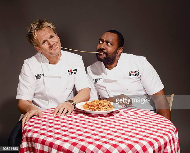 KINGDOM UNDATED In this handout image supplied by Comic Relief Chef Gordon Ramsay and Lenny Henry launch a range of Seriously Good Sauces for a...