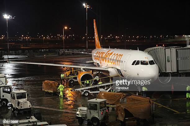 In this handout image supplied by easyJet easyJet's first ever flight from London to Israel arrives at Tel Aviv's BenGurion International Airport on...