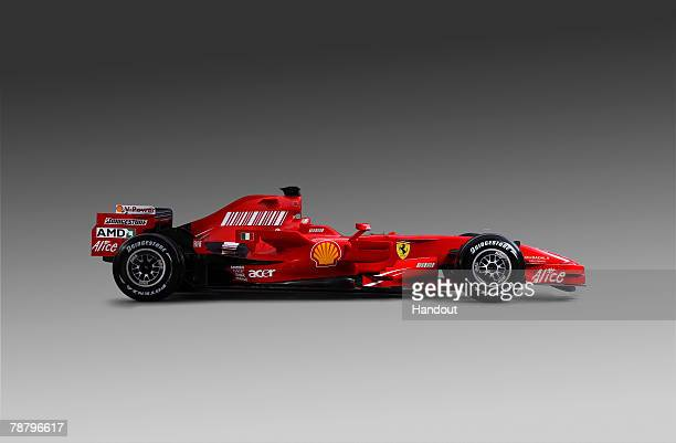 In this handout image supplied by Ferrari The new Ferrari 2008 Season F1 Car is unveiled at Ferrari's Fiorano test track on January 6 2008 in...