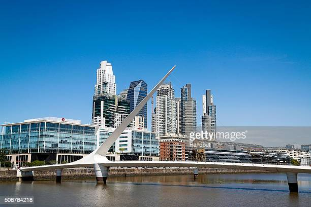 In this handout image supplied by Formula E a bridge during the Buenos Aires Formula E race at Puerto Madero Street Circuit on February 6 2016 in...
