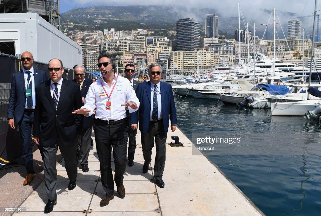 In this handout image supplied by Formula E, Alejandro Agag, CEO, Formula E Holdings with Price Albert II of Monaco during the FIA Formula E Championship Monaco ePrix on May 13, 2017 in Monte-Carlo, Monaco.