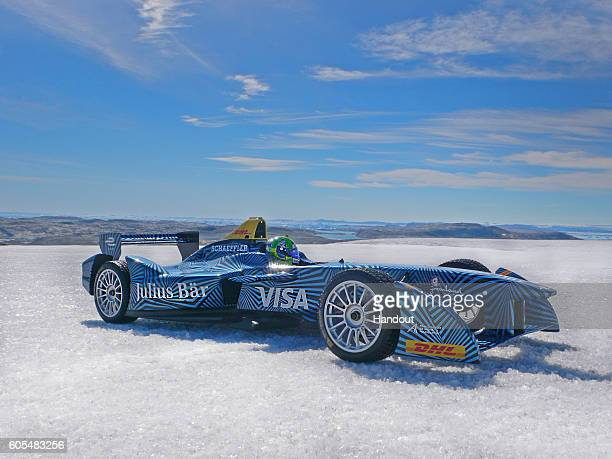 In this handout image supplied by Formula E Allelectric power waits to be unleashed in the Arctic as Lucas di Grassi prepares to drive the...
