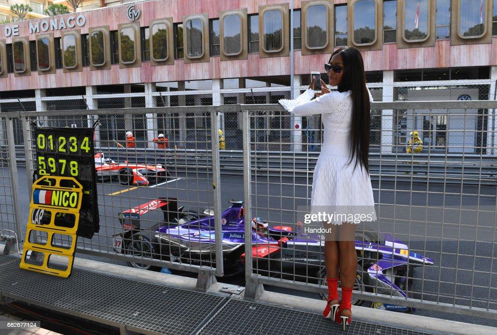 In this handout image supplied by Formula E, British model, Naomi Campbell during the FIA Formula E Championship Monaco ePrix on May 13, 2017 in Monte-Carlo, Monaco.