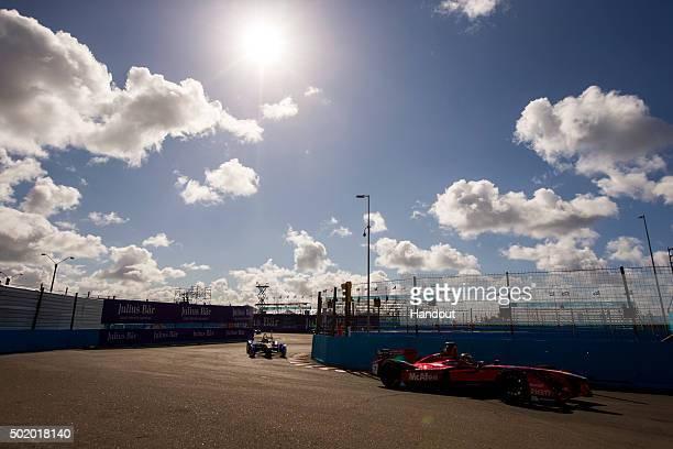 In this handout image supplied by Formula E Jerome D'Ambrosio Dragon Racing Venturi VM200FE01 during the Julius Baer Punta del Este Formula E race at...