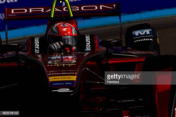 In this handout image supplied by Formula E Loic Duval Dragon Racing Venturi VM200FE01 during the Julius Baer Punta del Este Formula E race at Playa...