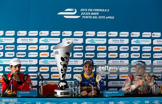 In this handout image supplied by Formula E Lucas Di Grassi ABT Audi Sport FE01 Sebastien Buemi Renault eDams ZE15 and Jerome D'Ambrosio Dragon...