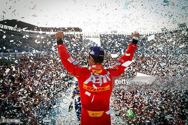 In this handout image supplied by Formula E Lucas Di Grassi ABT Audi Sport FE01 on the podium during the Mexico City Formula E race at Puerto...