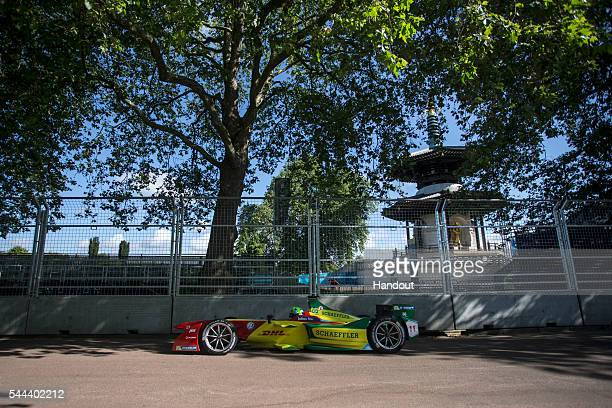 In this handout image supplied by Formula E Lucas Di Grassi ABT Audi Sport FE01 during the London Formula E race on JULY 3 2016 in Battersea Park...