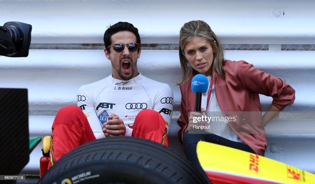 In this handout image supplied by Formula E, Lucas Di Grassi (BRA), ABT Schaeffler Audi Sport, Spark-Abt Sportsline, ABT Schaeffler FE02, with presenter Nicki Shields during the FIA Formula E Championship Monaco ePrix on May 13, 2017 in Monte-Carlo, Monaco.