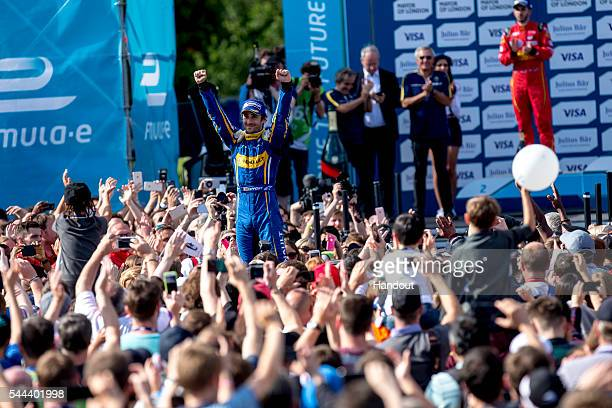 In this handout image supplied by Formula E Nicolas Prost Renault eDams ZE15 during the London Formula E race on JULY 3 2016 in Battersea Park London...