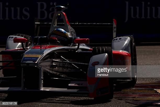In this handout image supplied by Formula E Oliver Rowlnd Mahindra Racing M2ELECTRO during the Julius Baer Punta del Este Formula E race at Playa...