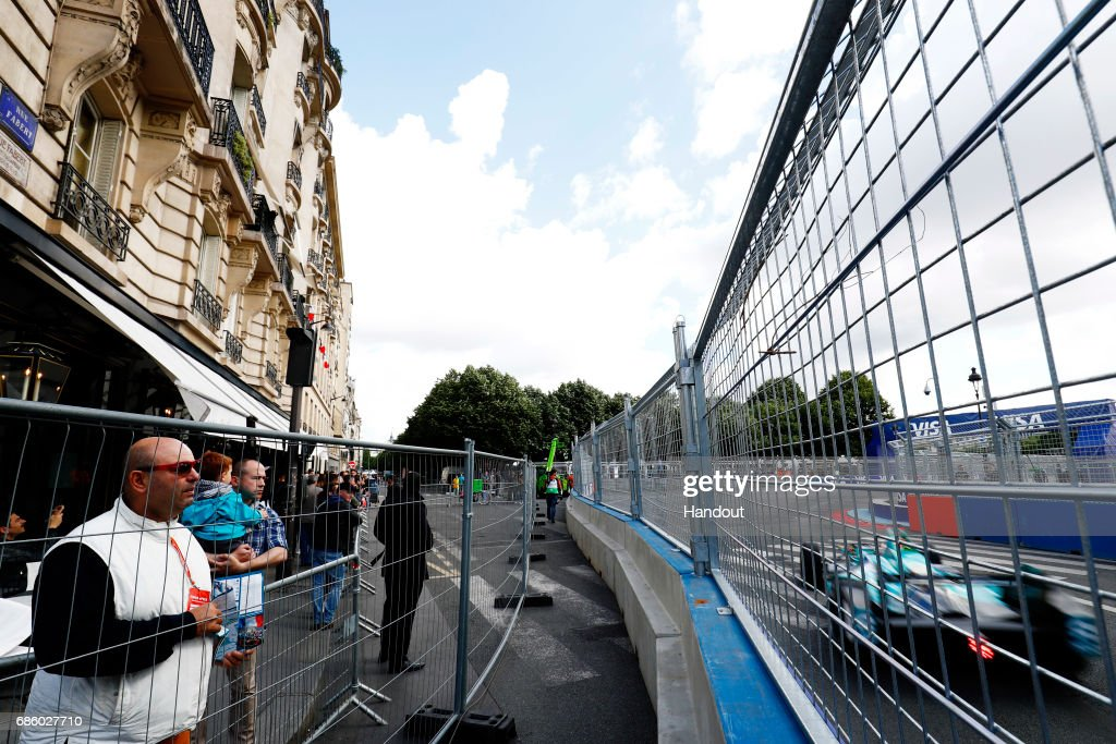 In this handout image supplied by Formula E, Oliver Turvey (GBR), NextEV NIO, Spark-NEXTEV, NEXTEV TCR Formula 002 during the FIA Formula E Championship Paris ePrix on May 20, 2017 in Paris, France.