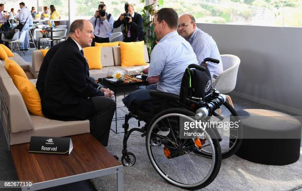 In this handout image supplied by Formula E, Prince Albert II of Monaco during the FIA Formula E Championship Monaco ePrix on May 13, 2017 in...