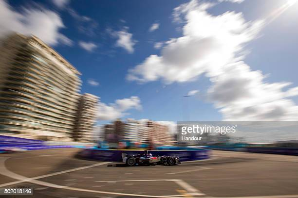 In this handout image supplied by Formula E Sam Bird DS Virgin Racing DSV01 during the Julius Baer Punta del Este Formula E race at Playa Brava Beach...