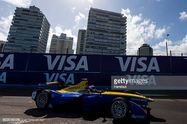 In this handout image supplied by Formula E Sebastien Buemi Renault eDams ZE15 during the Julius Baer Punta del Este Formula E race at Playa Brava...