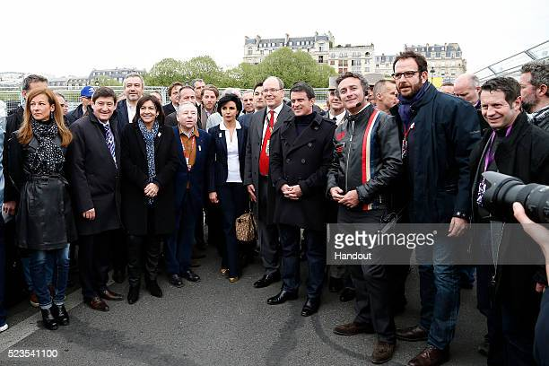 In this handout image supplied by Formula E special guests on the grid including Anne Hidalgo Mayor of Paris Jean Todt FIA President Manual Valls...