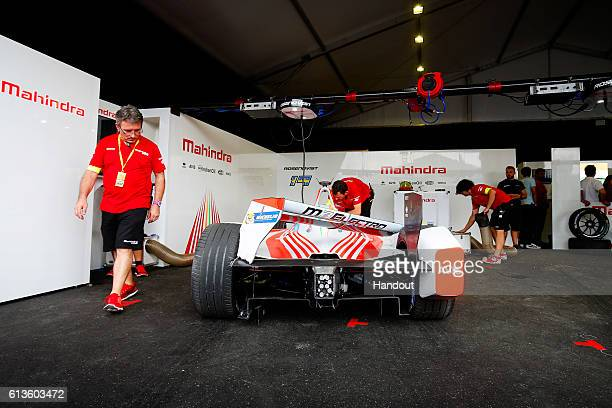 In this handout image supplied by Formula E The damaged car of Felix Rosenqvist Mahindra Racing SparkMahindra Mahindra M3ELECTRO during the FIA...