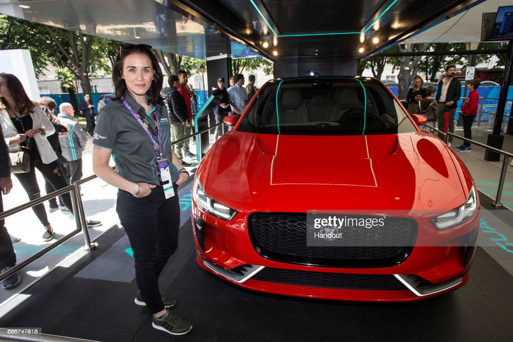 In this handout image supplied by Formula E, Vicky McClure and the Jaguar I-PACE Concept in the Panasonic Jaguar Racing eVillage stand during the Paris ePrix, sixth round of the 2016/17 FIA Formula E Series on May 20, 2017 in Paris, France.