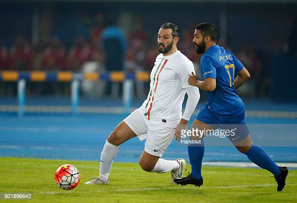 In this handout image supplied by Francisco Paraiso Gianluca Zambrotta of the World Stars XI team is in action during the Kuwait Champions Challenge...