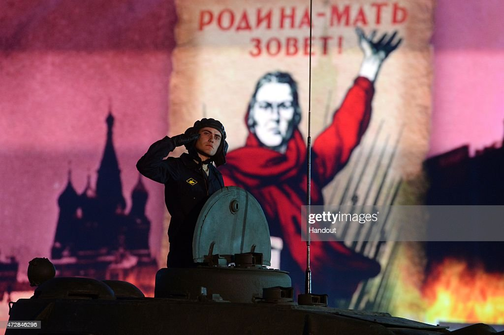 In this handout image supplied by Host photo agency / RIA Novosti, a general view during the gala concert held in Red Square to mark the 70th anniversary of Victory in the 1941-1945 Great Patriotic War, May 9, 2015 in Moscow, Russia. The Victory Day parade commemorates the end of World War II in Europe.