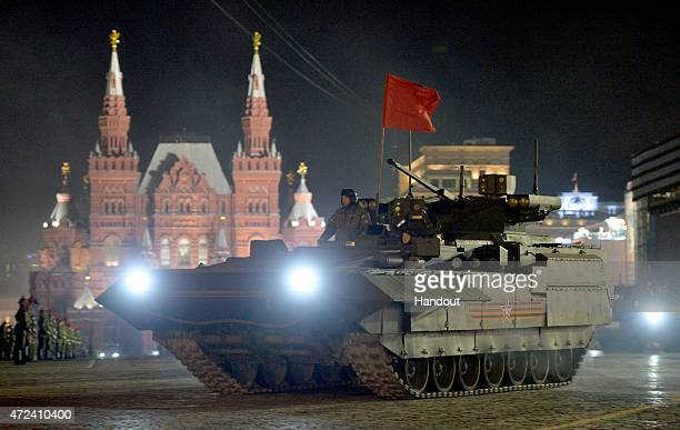 In this handout image supplied by Host photo agency / RIA Novosti an infantry fighting vehicle with the Armata Universal Combat Platform during a...